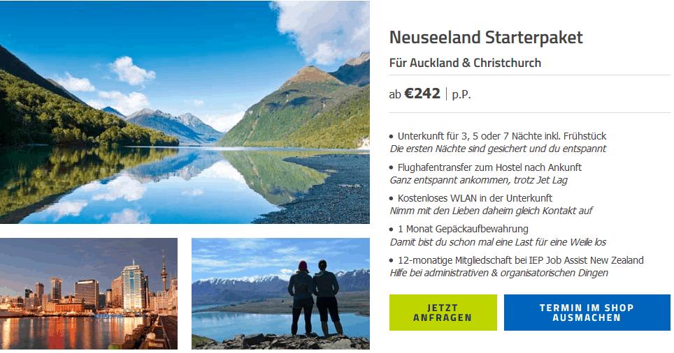 Screenshot Deal Auswandern Neuseeland ab 242,00€ p.P Work and Travel