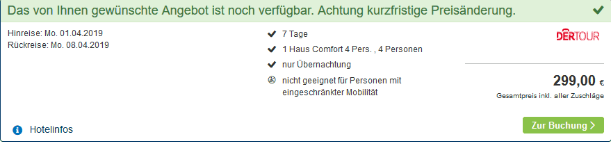 Screenshot Deal Center Parcs Het Meerdal nur 74,75€ die Woche p.P Tiefpreis