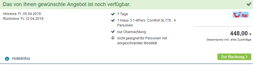 Screenshot Deal Center Parcs Hochsauerland 112,00€ Park Medebach 3,5 Sterne