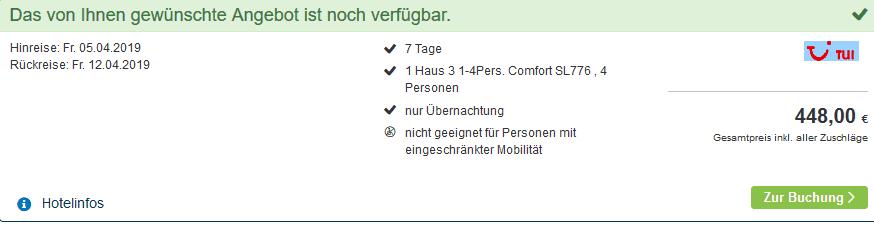 Screenshot Deal Center Parcs Hochsauerland 112,00€ Park Medebach 3,5 Sterne