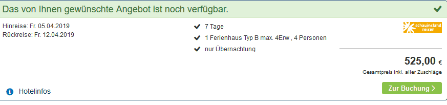 Screenshot Deal Center Parcs Les Ardennes nur 131,25€ die Woche