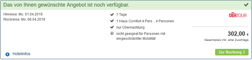 Screenshot Deal Center Parcs Limburgse Peel nur 75,50€ die Woche p.P Bestpreis