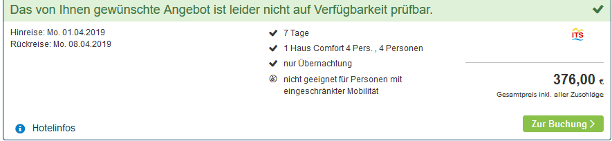 Screenshot Deal Center Parcs Park Bostalsee ab 94,00€ die Woche p.P Saarland