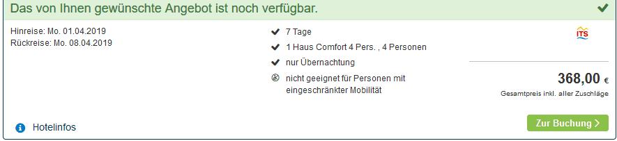 Screenshot Deal Center Parcs Sandur ab 92,00€ die Woche Günstig in Emmen