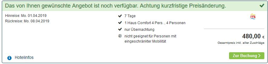 Screenshot Deal Center Parcs de Kempervennen nur 120,00€ die Woche p.P