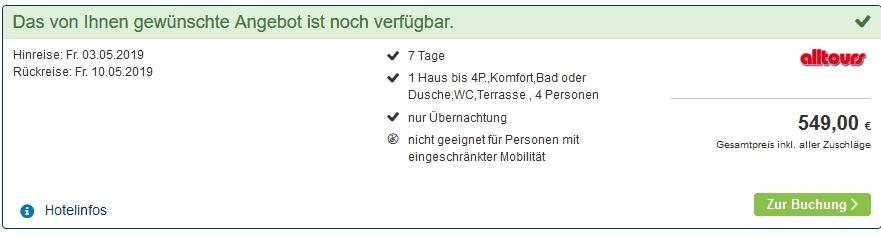 Screenshot Deal Center Parcs de Vossemeren ab 137,50€ die Woche p.P Preis für 4 reisende