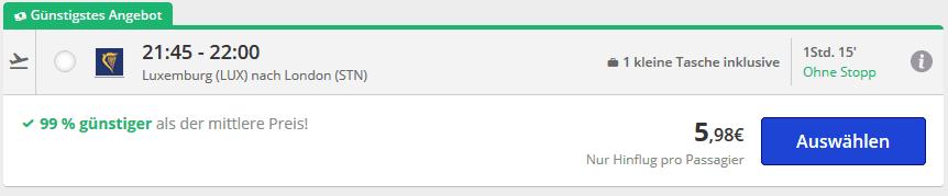 Screenshot Deal Flug Sale ab 5,98€ nach London Beispiel ab Luxemburg