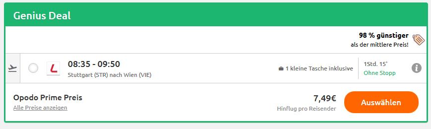 Screenshot Deal Flug nach Wien ab 7,49€ Deswegen mit Laudamotion fliegen