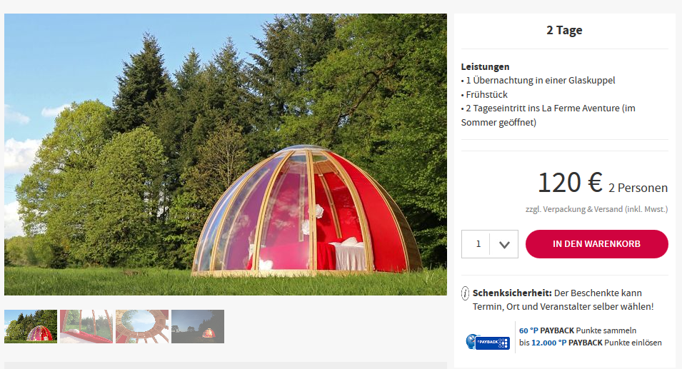 Screenshot Deal Glaskuppel Hotel ab 60,00€ in La Chapelle aux Bois Frankreich