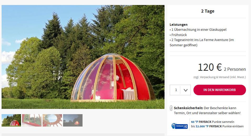 Screenshot Deal Glaskuppel Hotel ab 60,00€ in La Chapelle aux Bois Frankreich