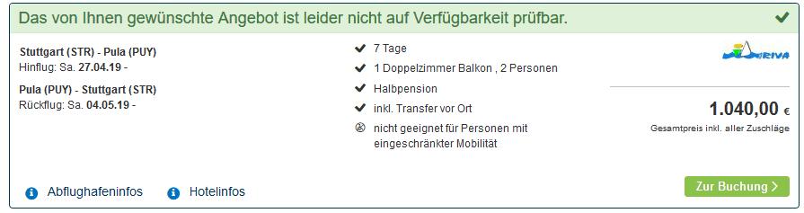 Screenshot Deal Glückshotel in Kroatien 1 Woche Halbpension ab 520,00€