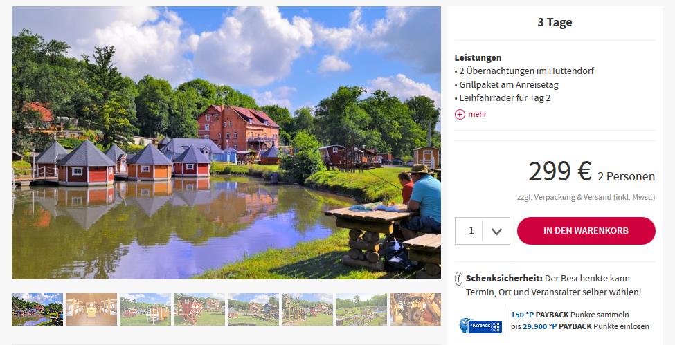 Screenshot Deal Hüttendorf in Thüringen ab 74,75€ die Nacht außergewöhnlich in Erbetedt