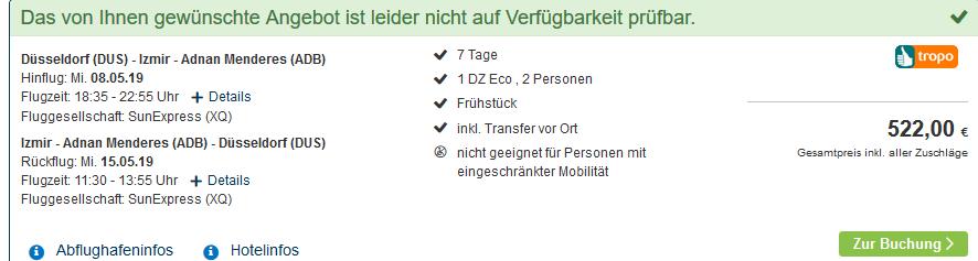 Screenshot Deal Izmir Urlaub günstig ab 261,00€ die Woche Türkei Deals