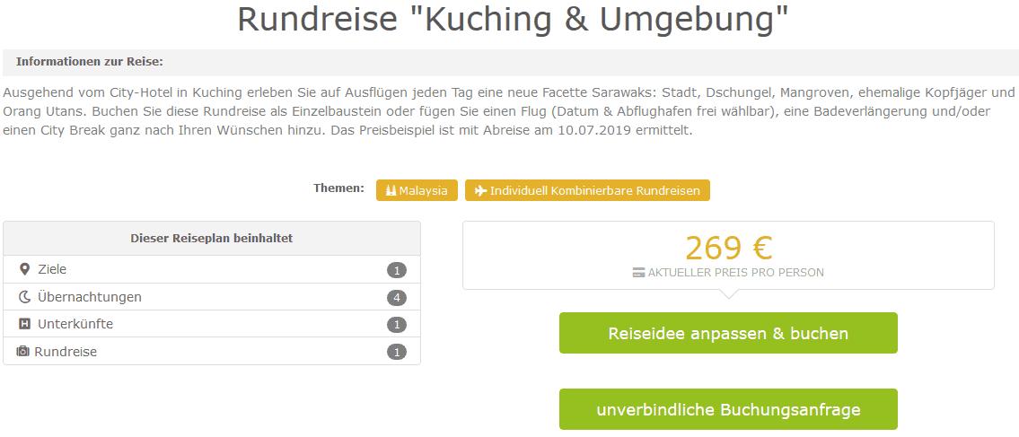 Screenshot Deal Malaysia Rundreise günstig ab 269,00€ 4 Nächte