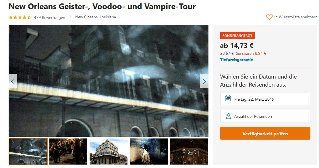 Screenshot Deal New Orleans Vampire Tour ab 14,73€- Geister & Voodoo in der USA