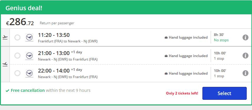 Screenshot Deal New York im Mai nur 286,72€ 9 Tage Flugreise