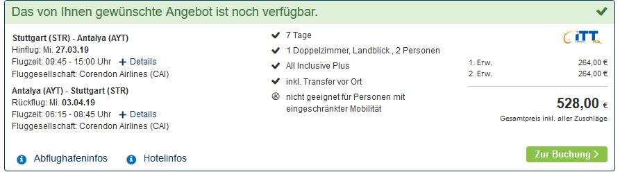 Screenshot Deal Türkei All Inclusive 5 Sterne ab 264,00€ Eine Woche Türkei