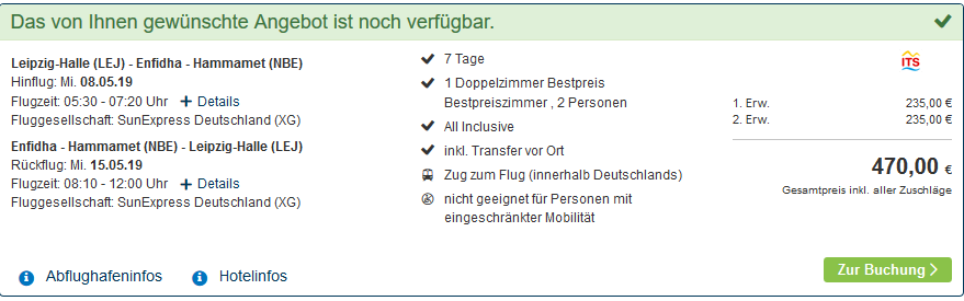 Screenshot Deal Tunesien All Inclusive Urlaub ab 229,00€