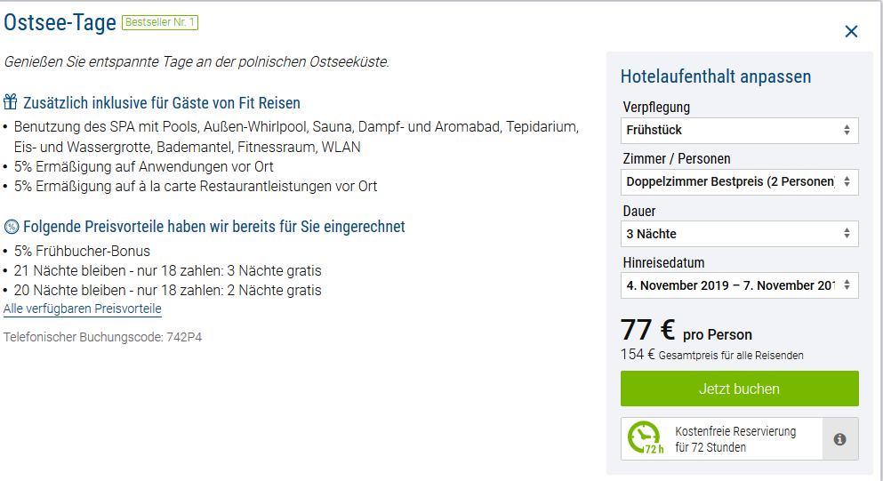 Screenshot Deal Wellnessurlaub im Marine Hotel Kolberg 5 Sterne 4 Tage ab 76,00€