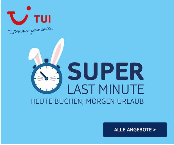 Screenshot Super Last Minute 50% Rabatt bei TUI Deals - Frühlingsspecial