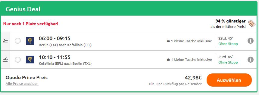 Screenshot günstiger Flug nach Kefalonia in der Hauptsaison