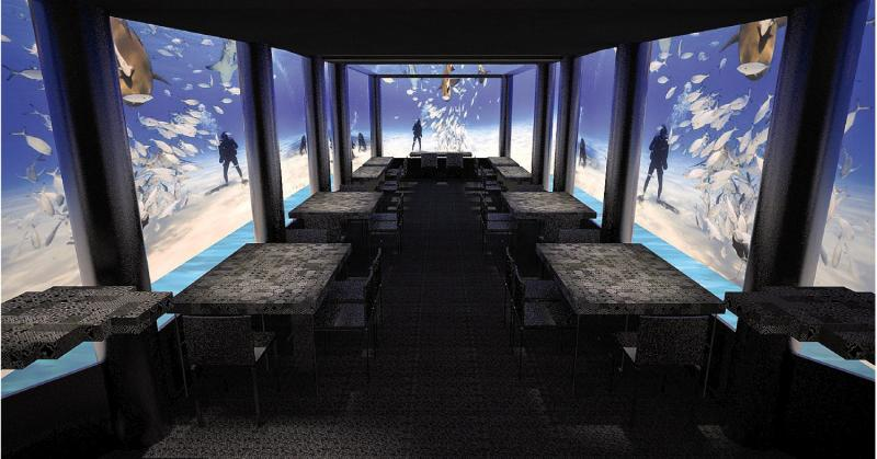 Unterwasser Restaurants während des Malediven Urlaub