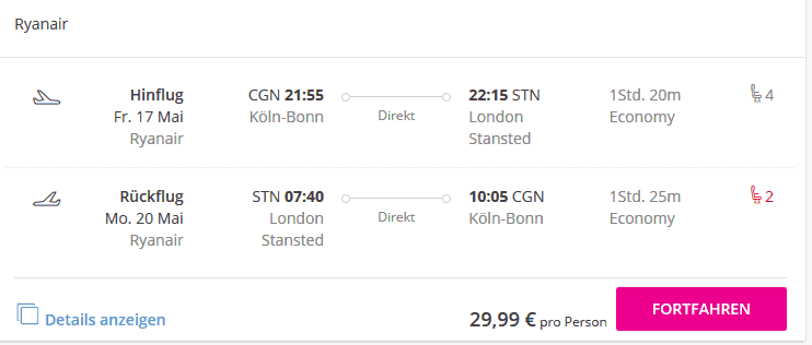 Flüge bei Lastminute günstig buchen - Screenshot