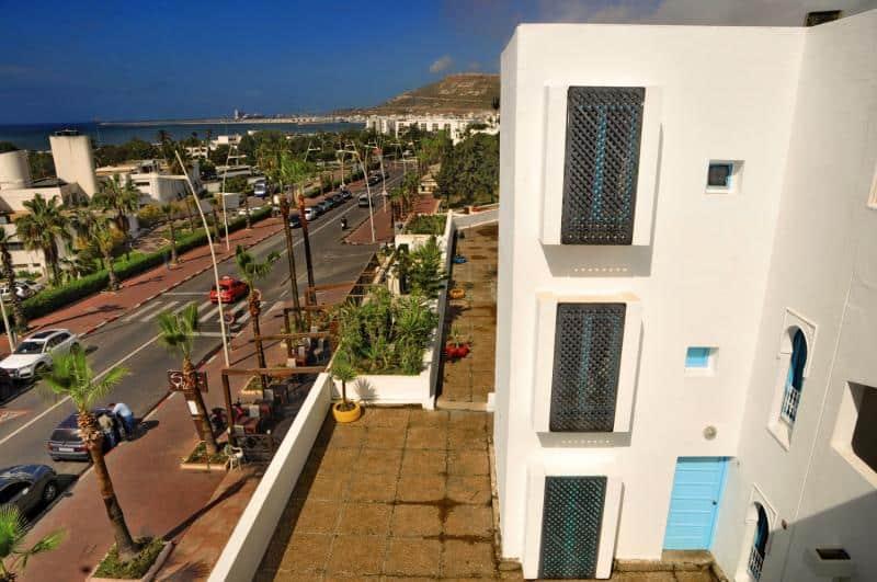 Lage vom günstigsten Hotel Igoudar an der Atlantikküste in Agadir - Langzeitreise Marokko
