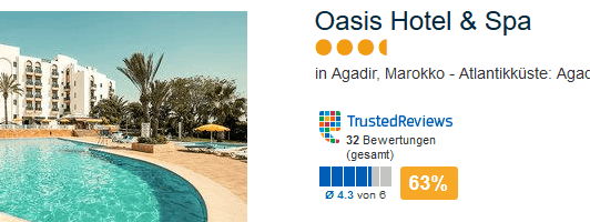Oasis Hotel & Spa 3,5 Sterne 63% TrustedReviews