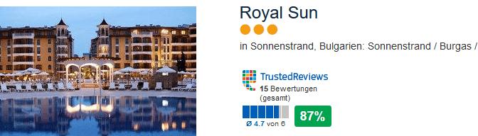 Royal Sun 3 Sterne Hotel am Sonnenstrand bie Burgas