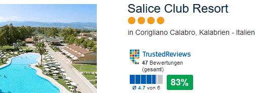 Salice Club Resort 4 Sterne 83 % positive Bewertung