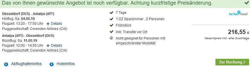 Screenshot Deal Alanya Urlaub - eine Woche nur 108,23€ Türkei Deal