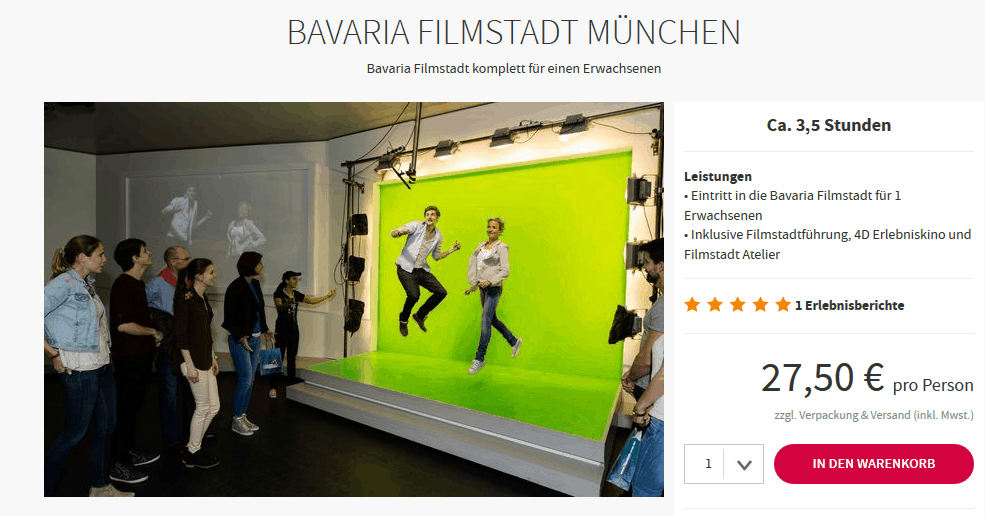 Screenshot Deal Bavaria Filmstadt München ca. 3,5 stunden p.P 27,50€