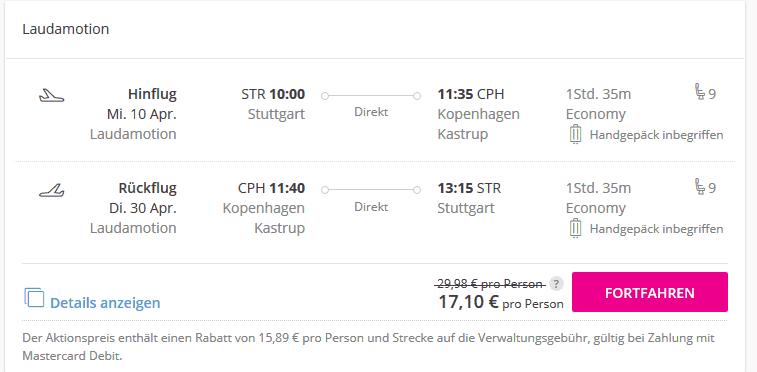 Screenshot Deal Dänemark Urlaub - ab 17,10€ Last Minute Flüge buchen
