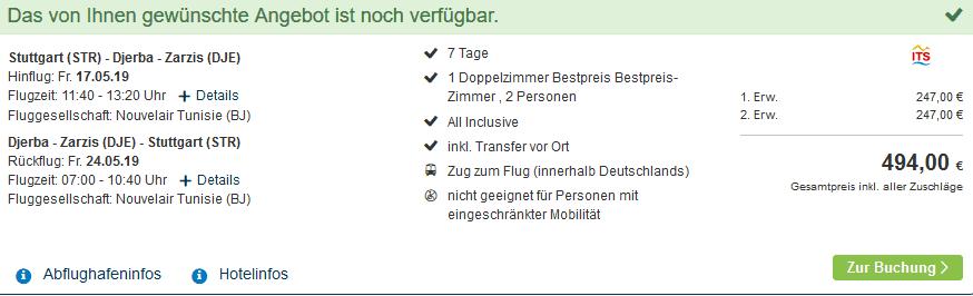 Screenshot Deal Djerba Urlaub All Inclusive Ferien ab 247,00€