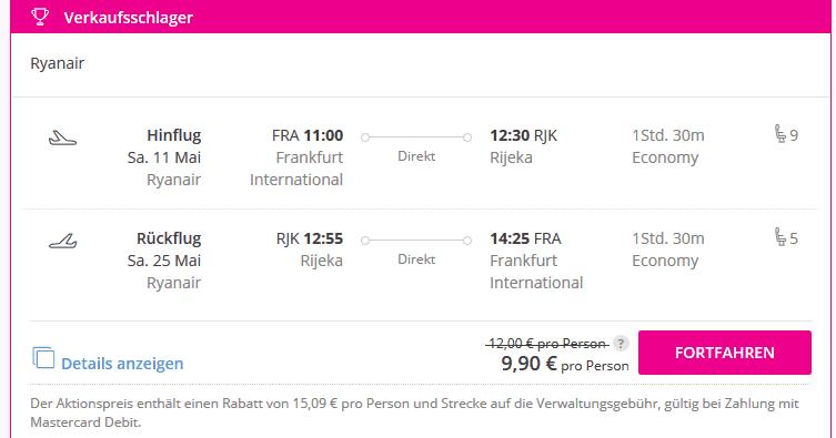 Screenshot Deal Flüge nach Rijeka nur 9,99€ Hin- & Rückflug nach Kroatien