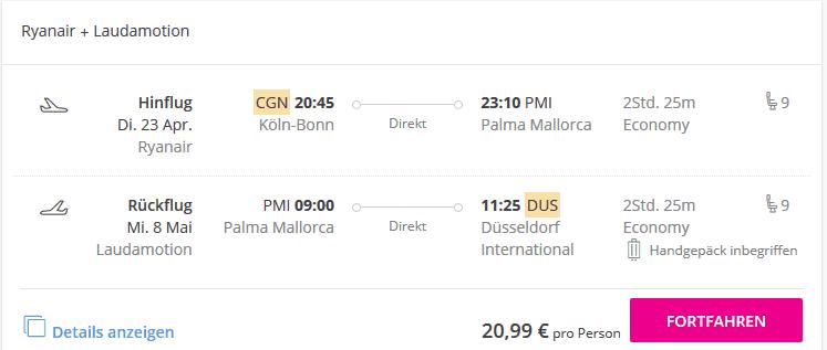 Screenshot Deal Flug Köln Mallorca nur 20,99€ Hin- & Rückflug