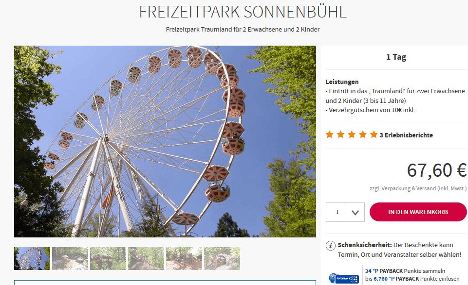 Screenshot Deal Freizeitpark Sonnenbühl nur 67,60 € Traumland auf der Bärenhöhle