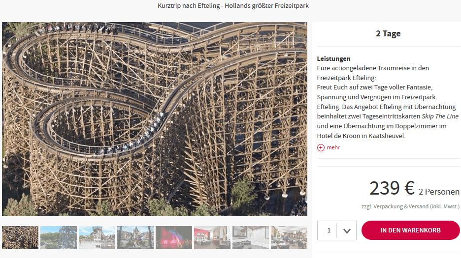Screenshot Deal Freizeitparks mit Übernachtung Kaatsheuvel 2 Personen 2 Tage 239,00€