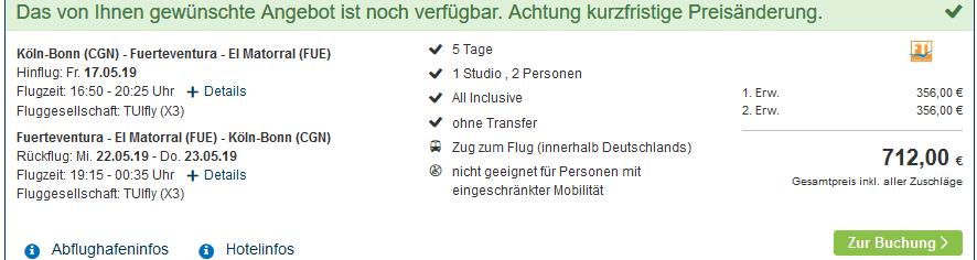 Screenshot Deal Fuerteventura All Inclusive Urlaub ab 339,00€