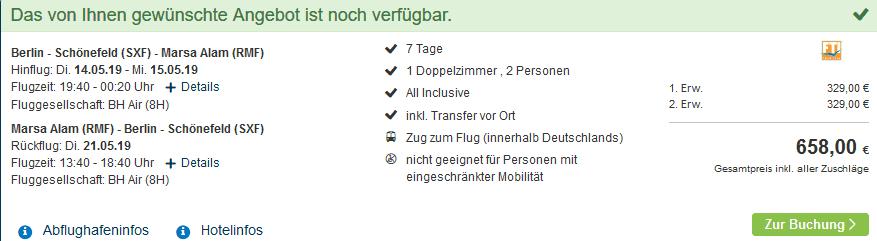 Screenshot Deal Glückshotel Ägypten - 1 Woche All Inclusive ab 329,00€ Glücksreisen