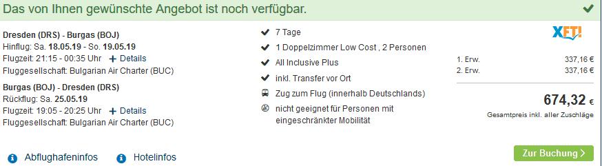 Screenshot Deal Glückshotel Bulgarien - 7 Tage All Inclusive Plus nur 338,00€