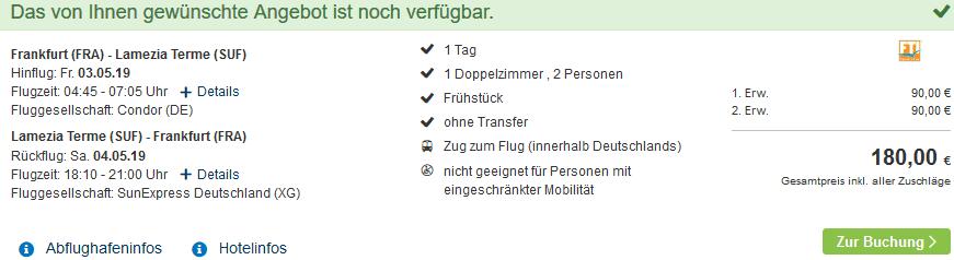 Screenshot Deal Glückshotel Kalabrien ab 90,00€ Roulette Kurz Trip