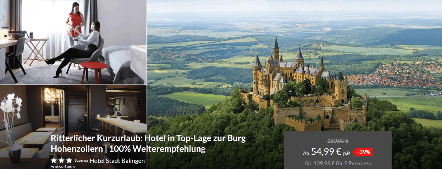 Screenshot Deal Hotel Burg Hohenzollern p.P 54,99€ statt 180,00€ - Toplage
