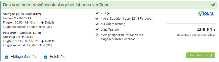 Screenshot Deal Kroatien mit Baby gesamte Familie nur 406,61€