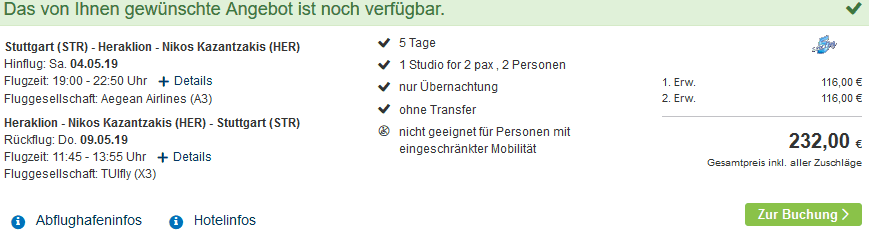 Screenshot Deal Malia Kreta Urlaub nur 116,00€ Familienurlaub