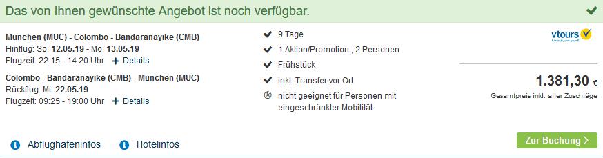 Screenshot Deal Reisetipps Sri Lanka - 10 Tage Urlaub ab 690,65€