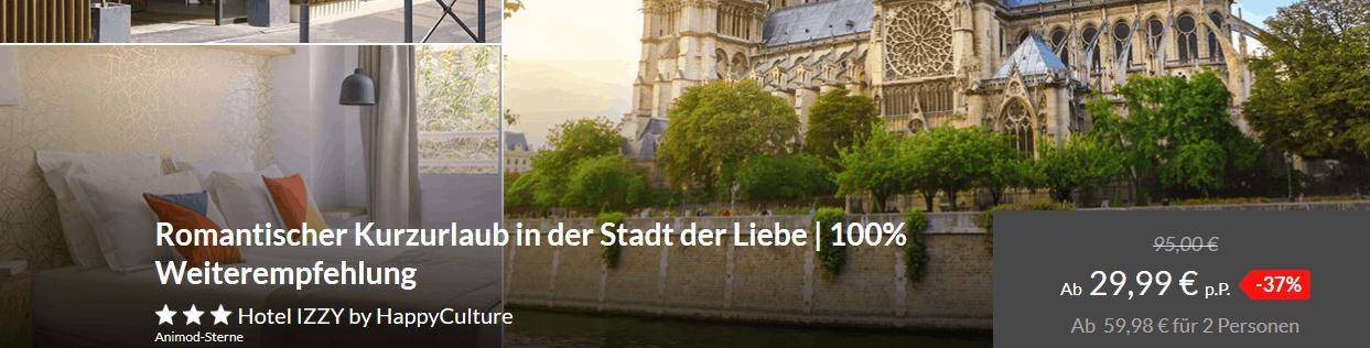 Screenshot Deal Romantischer Kurzurlaub in der Stadt der Liebe Ab 29,99 € statt 95,00€