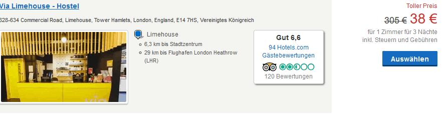 Screenshot Deal Wochenendtrip London nur 67,99€ -