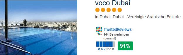 Voco Dubai 5 Sterne Hotel mit 91% positiver Bewertung